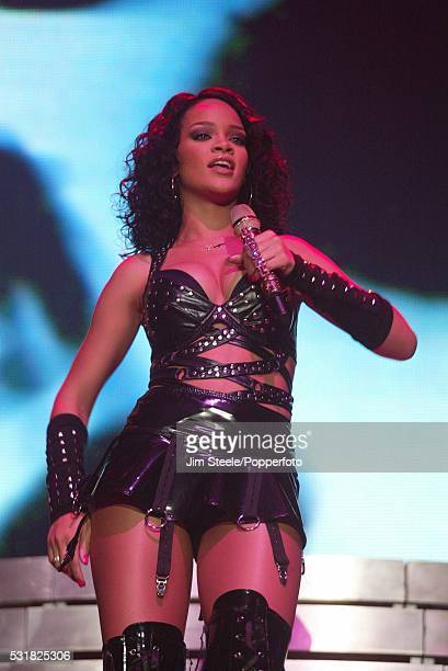 Rihanna performing on stage at Wembley Arena in London on the 16th December, 2007.