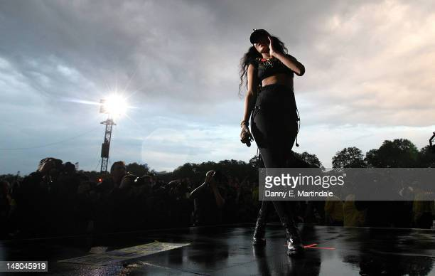 Rihanna performs at Barclaycard Wireless Festival at Hyde Park on July 8 2012 in London England