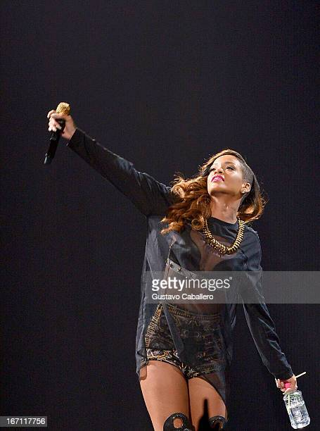 Rihanna performs at BB&T Center on April 20, 2013 in Sunrise, Florida.