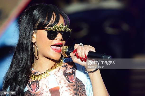 Rihanna performs at day 2 of the BBC Radio 1 Hackney Weekend 2012 at Hackney Marshes on June 24 2012 in London England