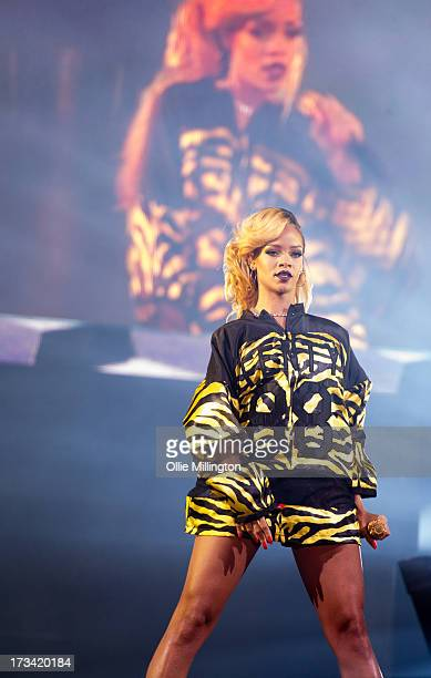 Rihanna performs at Day 2 of the T in the Park festival at Balado on July 13 2013 in Kinross Scotland