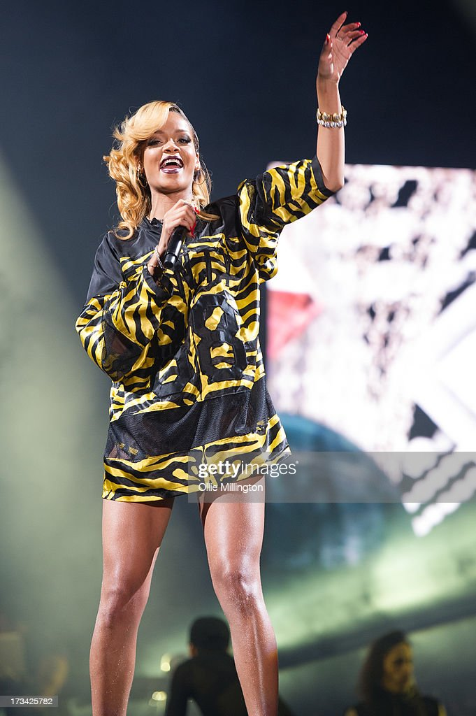 Rhianna performs at Day 2 of the T in the Park festival at Balado on July 13, 2013 in Kinross, Scotland.