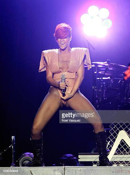 Rihanna performs at her 'Last Girl On Earth' tour at the Staples Center on July 21 2010 in Los Angeles California