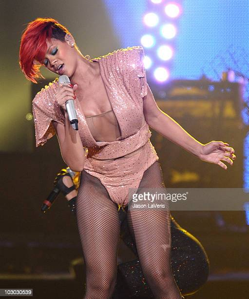 Rihanna performs at Staples Center during her Last Girl On Earth tour on July 21 2010 in Los Angeles California