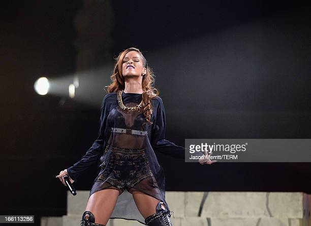 Rihanna performs at Staples Center on April 8 2013 in Los Angeles California