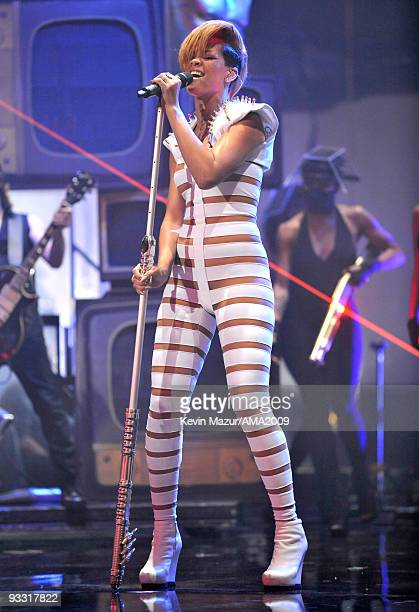 Rihanna performs at the 2009 American Music Awards at Nokia Theatre LA Live on November 22 2009 in Los Angeles California
