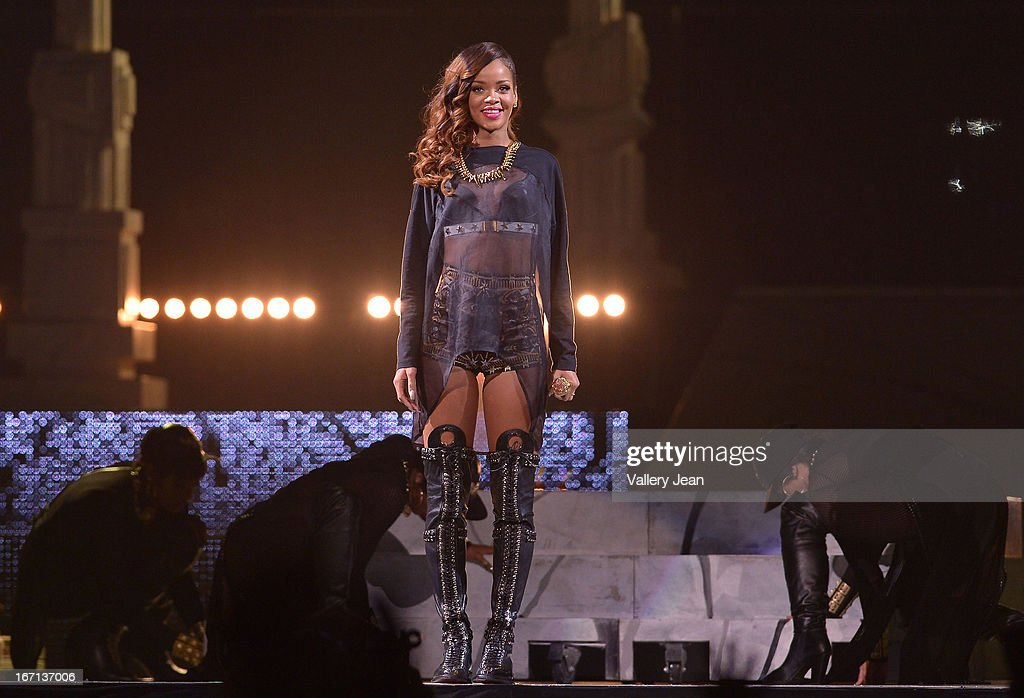 Rihanna performs at the BB&T Center on April 20, 2013 in Sunrise, Florida.