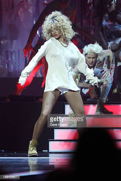 Rihanna performs at The Brit Awards 2012 at The O2 Arena on February 21 2012 in London England