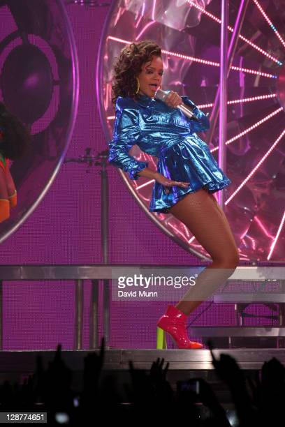 Rihanna performs at The Liverpool Echo Arena on October 7, 2011 in Liverpool, England.