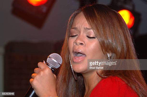 Rihanna performs at the Shawn 'JayZ' Carter Hosts Teen People Listening Lounge at the Canal Room on July 20 2005 in New York City