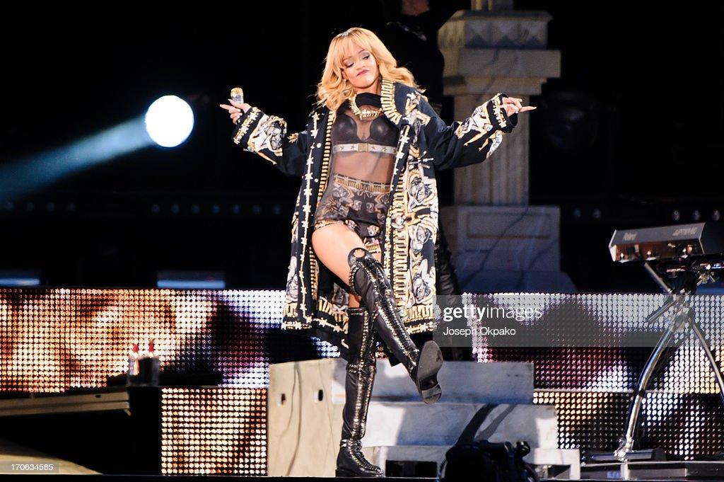 Rihanna performs at Twickenham Stadium on June 15, 2013 in London, England.