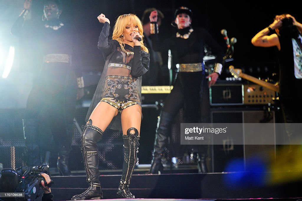Rihanna performs at Twickenham Stadium on June 16, 2013 in London, England.