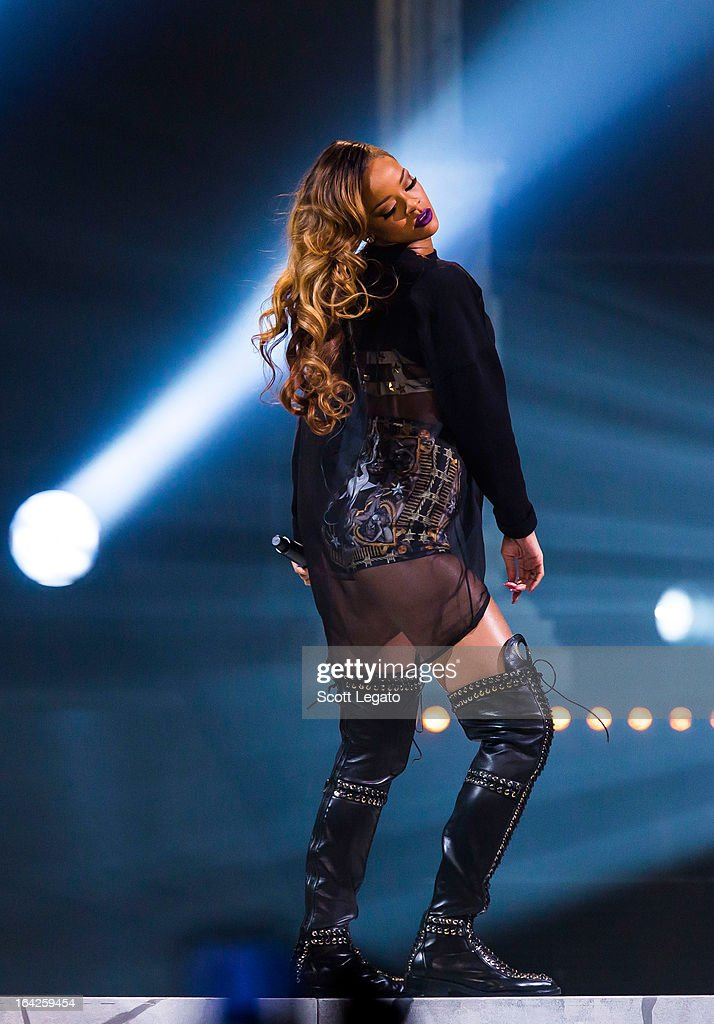 Rihanna performs during her 2013 Diamonds World Tour in concert at Joe Louis Arena on March 21, 2013 in Detroit, Michigan.