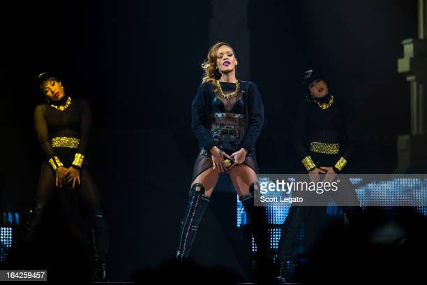 Rihanna performs during her 2013 Diamonds World Tour in concert at Joe Louis Arena on March 21 2013 in Detroit Michigan