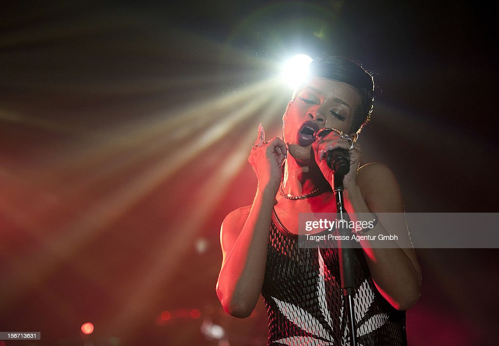 Rihanna performs during her 777 tour on November 18, 2012 at E-Werk in Berlin, Germany.