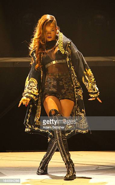 Rihanna performs during her 'Diamonds' world tour at Xcel Energy Center on March 24 2013 in St Paul Minnesota
