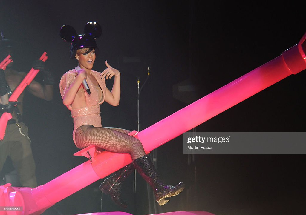 Rihanna performs during her Last Girl on Earth Tour at SECC on May 19, 2010 in Glasgow, Scotland.