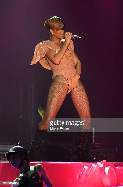 Rihanna performs during her Last Girl on Earth Tour at SECC on May 19 2010 in Glasgow Scotland