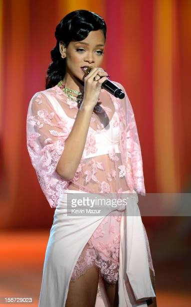 Rihanna performs during the 2012 Victoria's Secret Fashion Show at the Lexington Avenue Armory on November 7 2012 in New York City