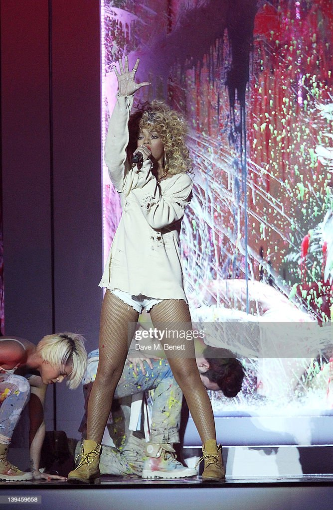 Rihanna performs during the BRIT Awards 2012 held at O2 Arena on February 21, 2012 in London, England.