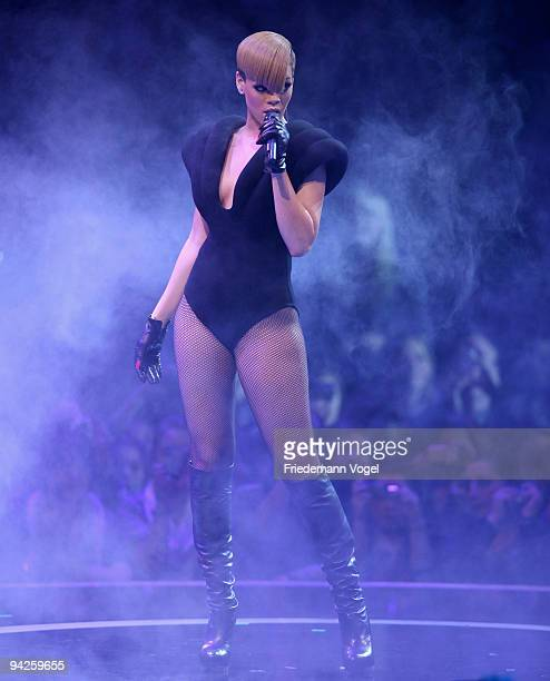 Rihanna performs during the German TV Show 'Popstars You I' final at the Koenigspilsener Arena on December 10 2009 in Oberhausen Germany