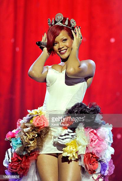 Rihanna performs during the MTV Europe Music Awards 2010 live show at La Caja Magica on November 7, 2010 in Madrid, Spain.
