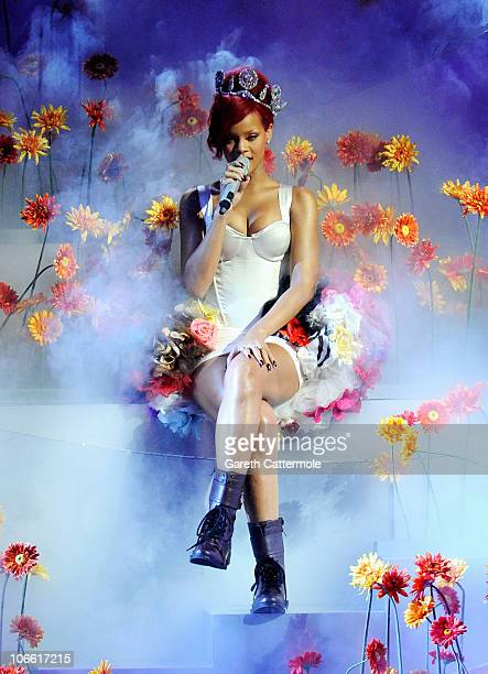 Rihanna performs during the MTV Europe Music Awards 2010 live show at La Caja Magica on November 7 2010 in Madrid Spain