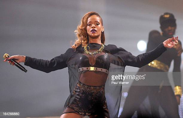 Rihanna performs in concert at Joe Louis Arena on March 21 2013 in Detroit Michigan