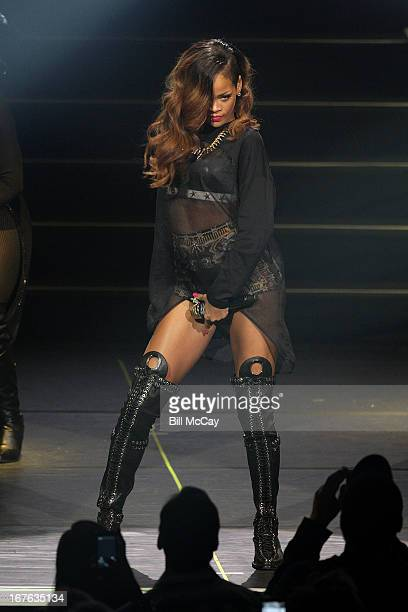 Rihanna performs in concert at Ovation Hall at Revel Resort Casino April 26 2013 in Atlantic City New Jersey
