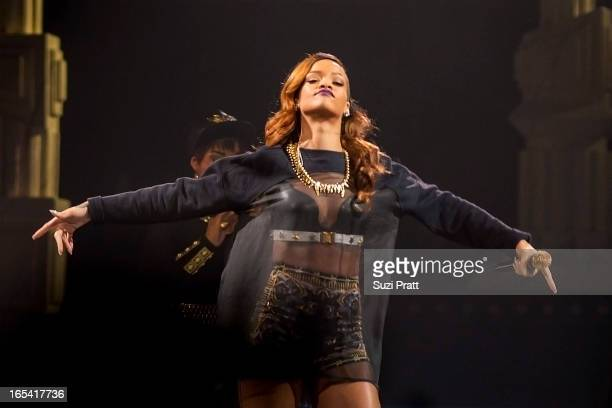 Rihanna performs live at Key Arena on April 3 2013 in Seattle Washington