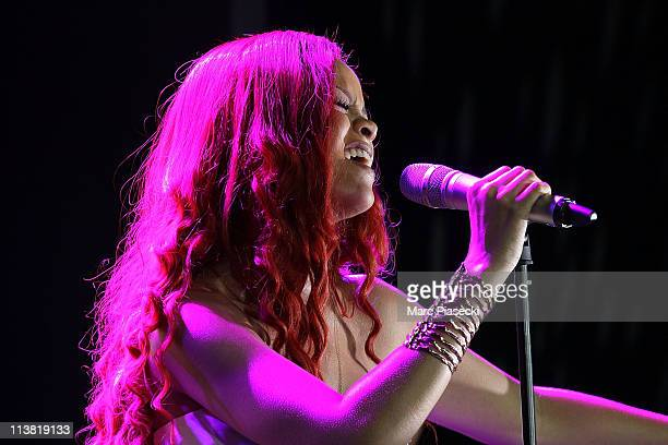 Rihanna performs live at the 'Nivea And Rihanna Celebrating 100 Years Of Skincare' at Grand Hotel Intercontinental on May 6 2011 in Paris France