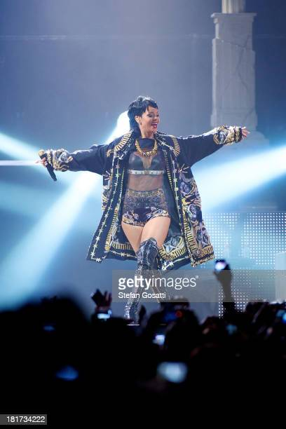 Rihanna performs live for fans at the first show of her Australian Tour at Perth Arena on September 24 2013 in Perth Australia