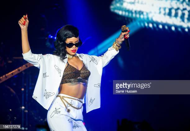 Rihanna performs live on stage as part of her 777 tour at The Forum on November 19, 2012 in London, England.