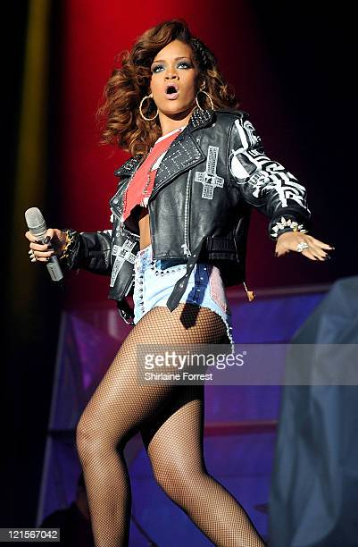 Rihanna performs on day one of V Festival at Weston Park on August 20 2011 in Stafford England