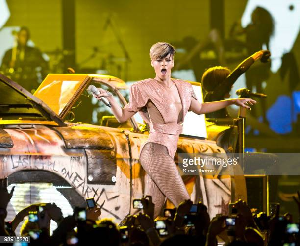 Rihanna performs on stage at LG Arena on May 7 2010 in Birmingham England