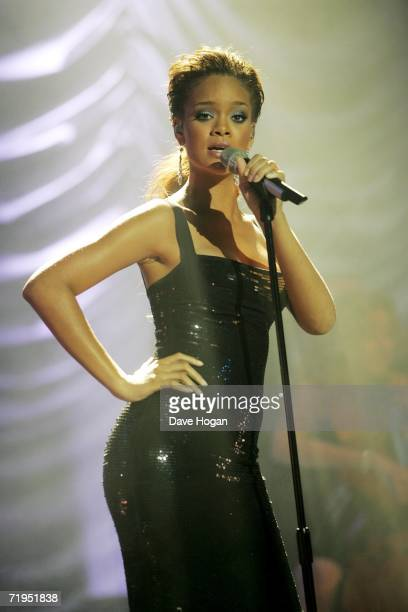 Rihanna performs on stage at the MOBO Awards 2006 at The Royal Albert Hall on September 20 2006 in London England