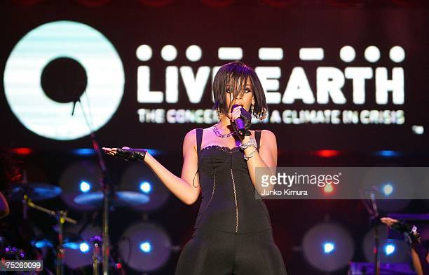 Rihanna performs on stage at the Tokyo leg of the Live Earth series of concerts, at Makuhari Messe, Chiba on July 7, 2007 in Tokyo, Japan. Launched...