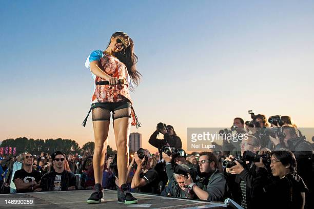 Rihanna performs on stage during BBC Radio 1 Hackney Weekend at Hackney Marshes on June 24 2012 in Hackney United Kingdom