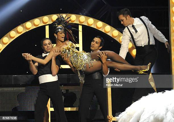 Rihanna performs on stage during the Conde Nast Media Group's Fifth Annual Fashion Rocks at Radio City Music Hall on September 5 2008 in New York City