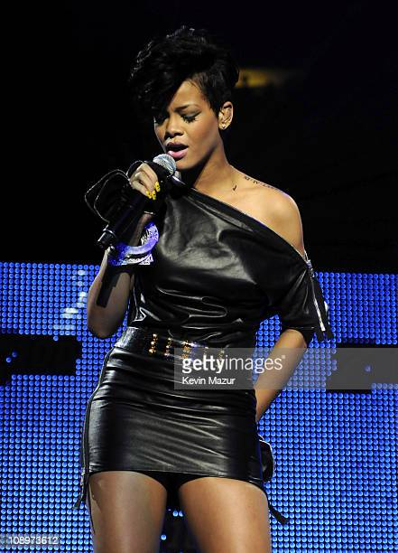 Rihanna performs on stage during Z100's Jingle Ball 2008 Presented by HM at Madison Square Garden on December 12 2008 in New York City