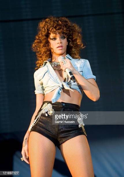 Rihanna performs on the V Stage on day 2 of the V Festival at Hylands Park on August 21 2011 in Chelmsford England