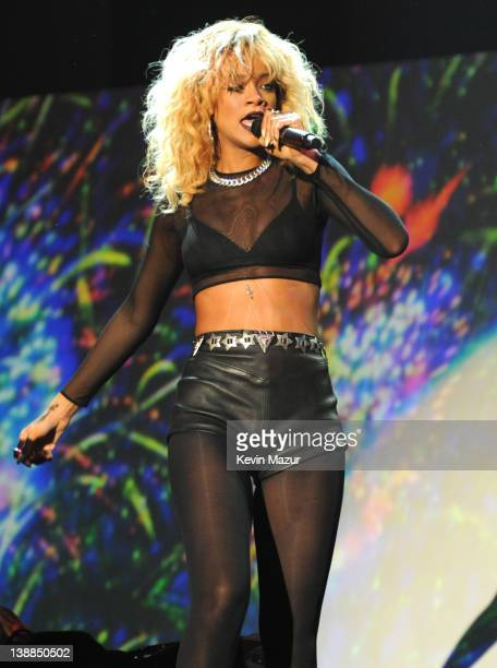 Rihanna performs onstage at The 54th Annual GRAMMY Awards at Staples Center on February 12 2012 in Los Angeles California