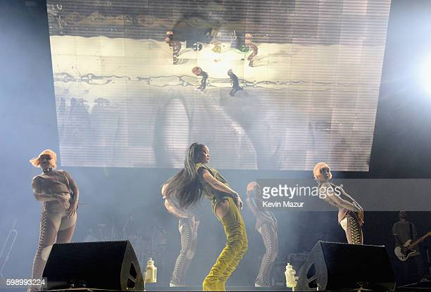 Rihanna performs onstage during the 2016 Budweiser Made in America Festival at Benjamin Franklin Parkway on September 3, 2016 in Philadelphia,...