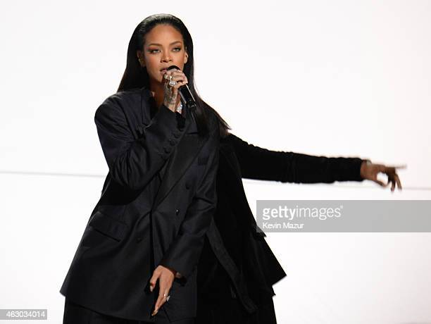 Rihanna performs onstage during The 57th Annual GRAMMY Awards at the STAPLES Center on February 8, 2015 in Los Angeles, California.