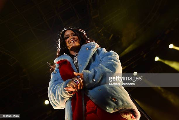 Rihanna performs onstage during the Coke Zero Countdown at the NCAA March Madness Music Festival Day 2 at White River State Park on April 4 2015 in...