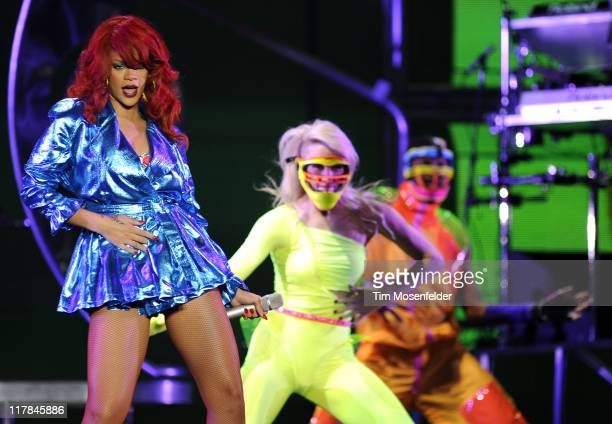 Rihanna performs part of her Loud Tour at Oracle Arena on June 30, 2011 in Oakland, California.
