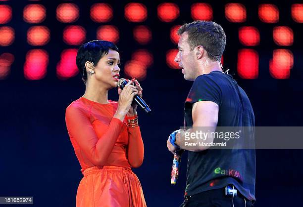 Rihanna performs with Chris Martin of Coldplay during the closing ceremony on day 11 of the London 2012 Paralympic Games at Olympic Stadium on...