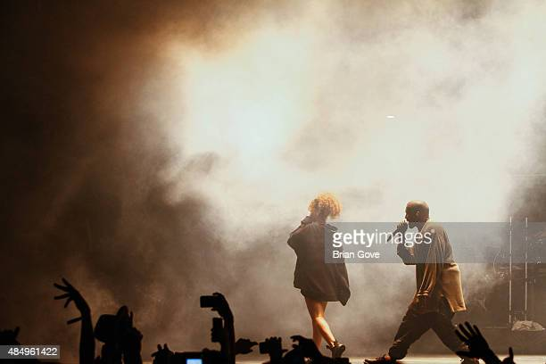 Rihanna performs with Kanye West at FYF Fest 2015 at LA Sports Arena Exposition Park on August 22 2015 in Los Angeles California