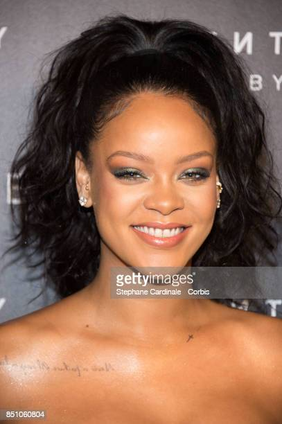 Rihanna poses as she arrives to the Fenty Beauty By Rihanna Paris Launch Party hosted by Sephora at Jardin des Tuileries on September 21 2017 in...