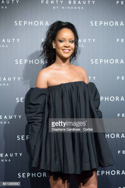 Rihanna poses as she arrives to the Fenty Beauty By Rihanna Paris Launch Party hosted by Sephora at Jardin des Tuileries on September 21, 2017 in...